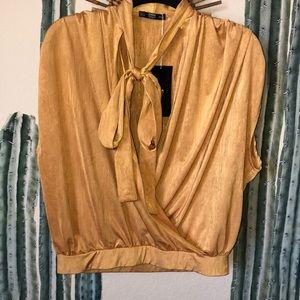 Zara tie neck gold v neck blouse